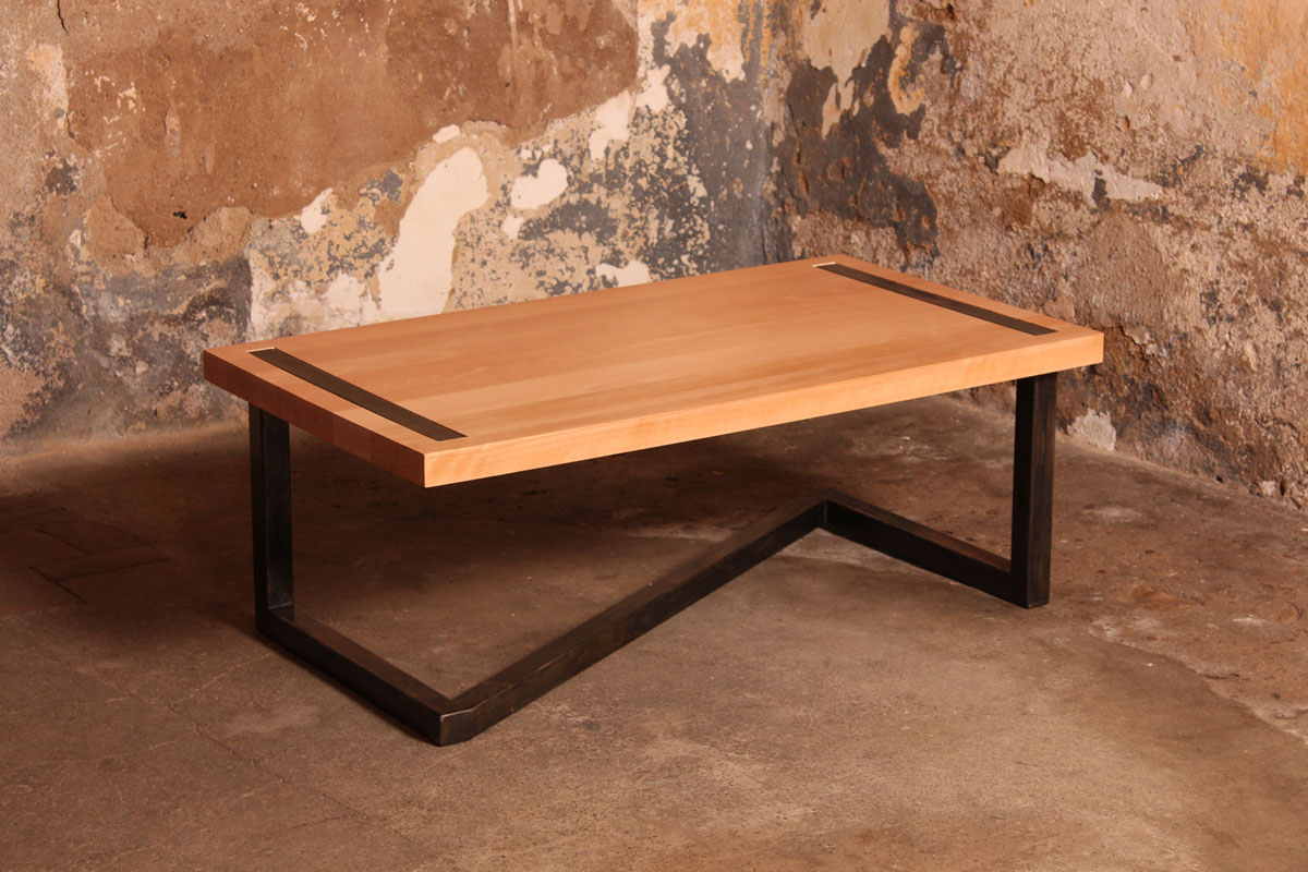 Barnab designtable basse m tis h tre massif pi tement industriel barna - Table basse bois massif design ...