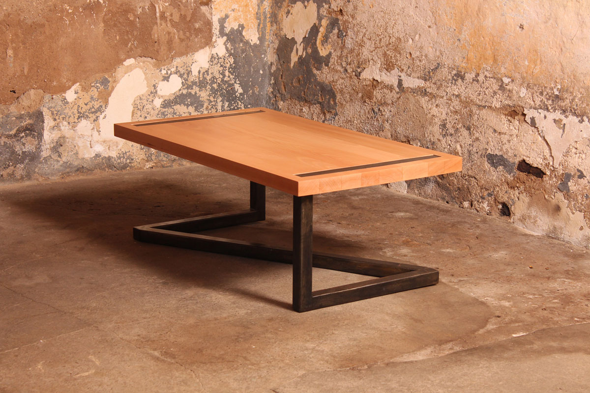 Barnab designtable basse m tis h tre massif pi tement for Pietement de table design