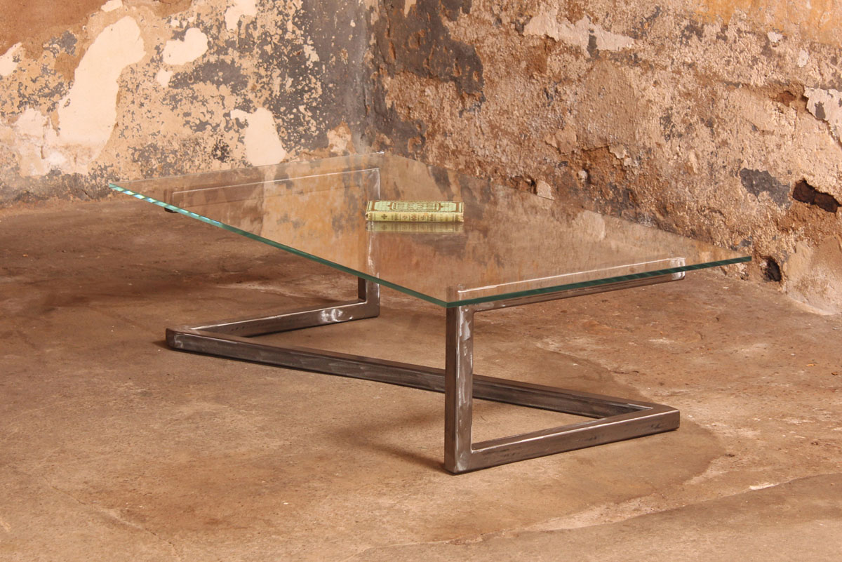 Barnab design table basse m tis verre securit - Table basse en verre et acier ...