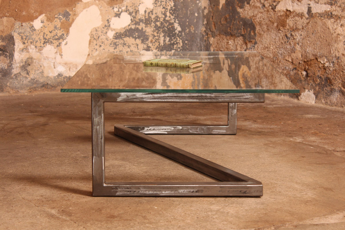 Barnab designtable basse m tis verre securit for Pietement de table design